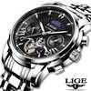 LIGE Fashoin, новые мужские часы, Лидирующий бренд, Роскошные автоматические механические часы с турбийоном, мужские водонепроницаемые наручные ...