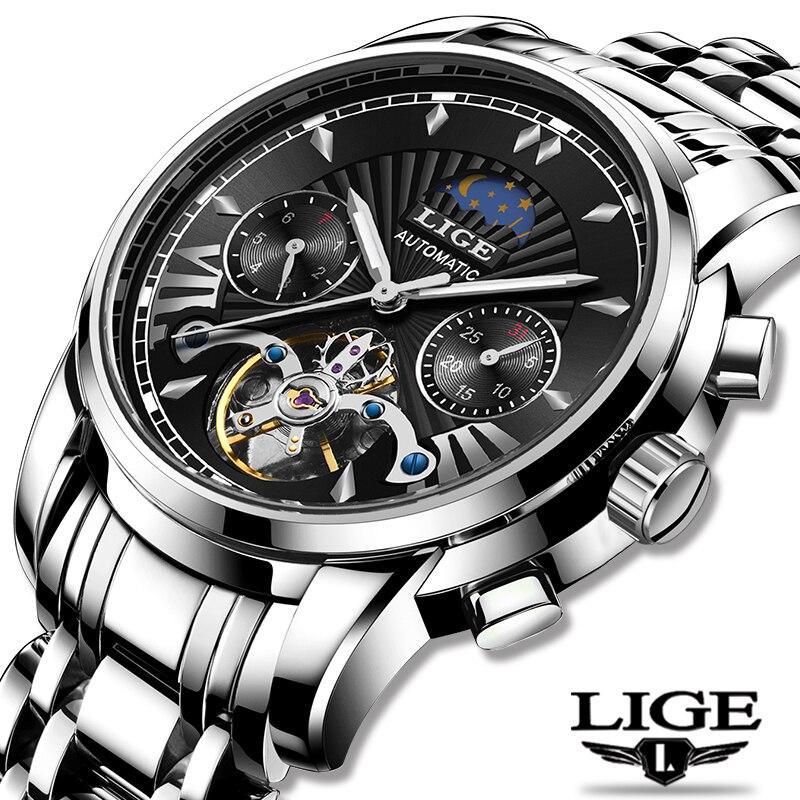 LIGE Fashoin New Mens Watches Top Brand Luxury Automatic Mechanical Tourbillon Watch Men Stainless Steel Waterproof Wrist Watch
