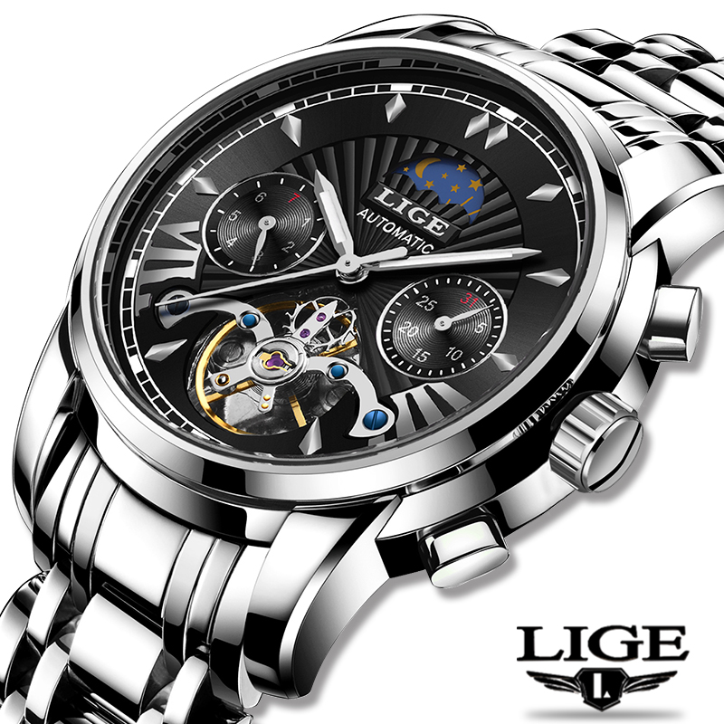 LIGE Fashoin New Mens Watches Top Brand Luxury Automatic Mechanical Tourbillon Watch Men Stainless Steel Waterproof Wrist Watch