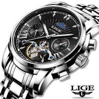 LIGE Fashoin nouveau hommes montres Top marque de luxe automatique mécanique Tourbillon montre hommes en acier inoxydable étanche montre-bracelet