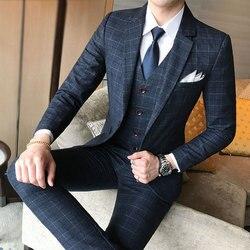 (Blazer + Hose + Weste) luxus Männer Anzug 3 Stück Set Mode Boutique Gitter Bräutigam Hochzeit Kleid Männer Smoking Männer Bankett Club Kleid