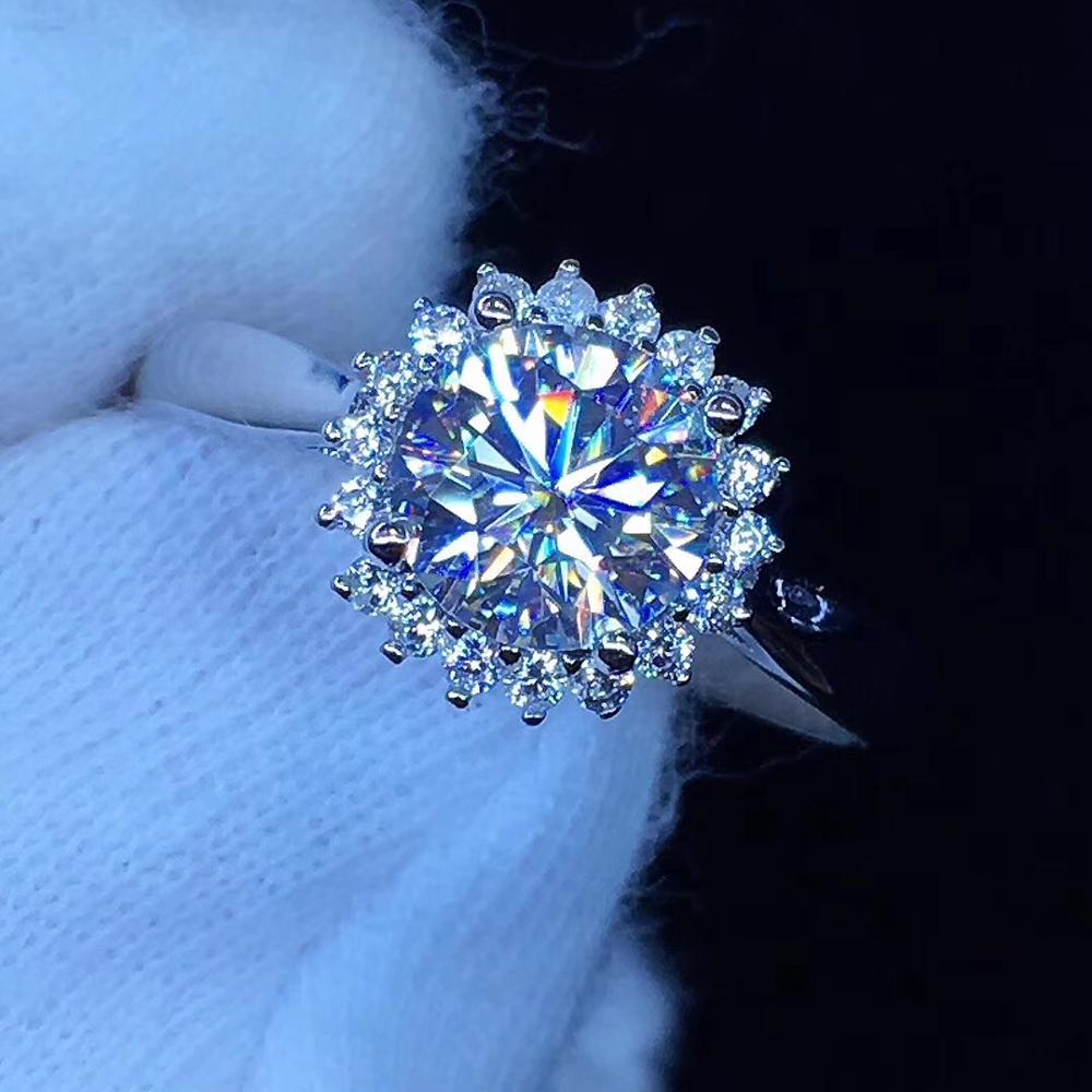Kkmall magasin rond argent Moissanite anneau 1.00ct D VVS luxe Moissanite anneau bijoux petite amie cadeau Moissanite argent 925 anneau