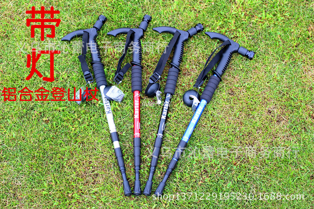 Camping Mountain Climbing Four Aluminium Alloy Telescopic Shock Absorption Light Included Alpenstock Wholesale
