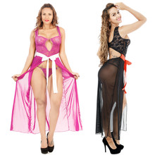 Sexy Lace Long Lingerie Big Breasts Look Small Nightgown Slit Skirt Transparent Dress Evening Robes Nightie Plus Size Sleepwear(China)