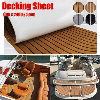 600x2400x5mm EVA Foam Faux Teak Boat Deck Mat Brown Decking Sheet Yacht Flooring Anti Skid Mat Self Adhesive Vehicle Pad