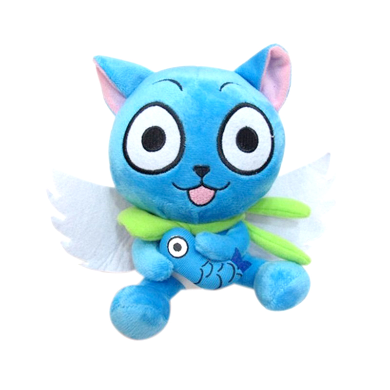 "18cm/7"" Anime Fairy Tail Blue Happy Cat Cute Plush Toy Stuffed Doll Present PP Cotton Cartoon Plush Dolls Fans Gift Baby Toys"