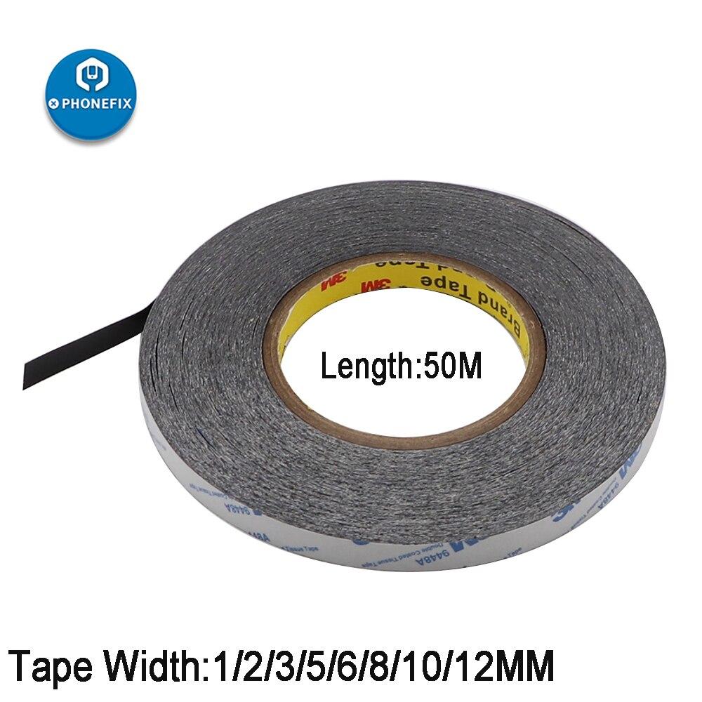 1 мм-12 мм * 50 метров ультратонкая черная двухсторонняя клейкая лента для экрана телефона ЖК-дисплея дигитайзер ремонтная клейкая лента
