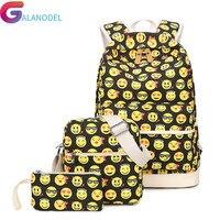 Travel Smiley Face Printing Women Backpack Large Capacity 3Pcs/set Backpack Fashion Emoji School Backpacks For Teenager Bagpack