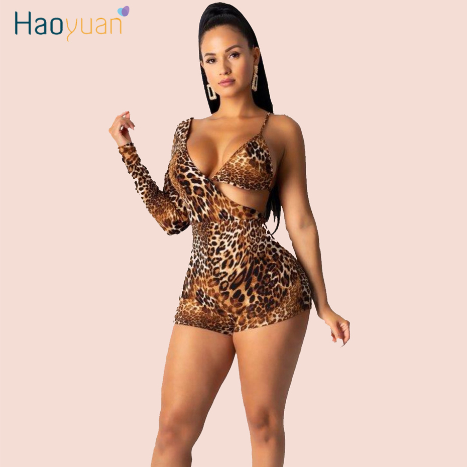 HAOYUAN Sexy Club Leopard Playsuit Women Festival Clothes One Piece Body Overalls Long Sleeve Bodycon Rompers Jumpsuit Shorts