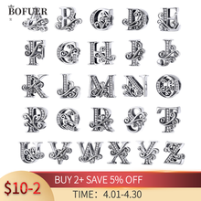 BOFUER 100% 925 Silver A to Z clear CZ 26 Letter Alphabet Bead Charms Pendant Fit Original Pandora Bracelet DIY Jewelry Making