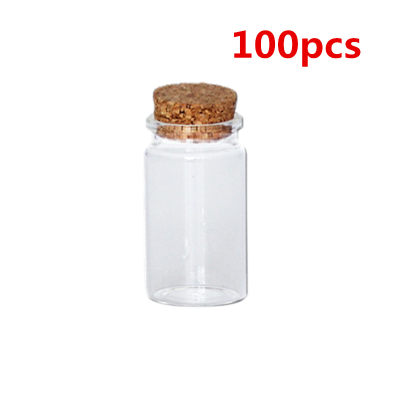 6ML Empty Sample Vials Clear Glass Bottles with Corks Jars Small bottl 10Pcs
