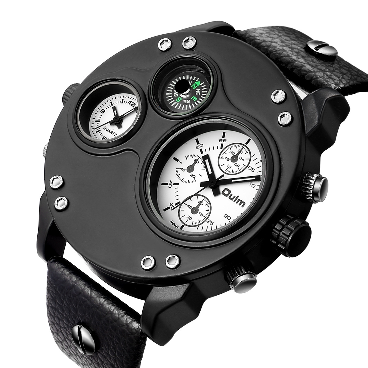 Oulm Brand New Style MEN'S Watch Multi-Time Zone Compass MEN'S Watch Leather Belt MEN'S Watch