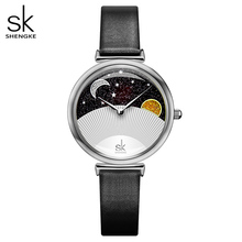 Shengke Brand Fashion Black Quartz Women Watches Lady Creative 2019 SK High Quality Leather Strap Waterproof Quartz-Watches Gift