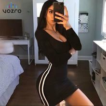 VOZRO Zsiibo Party Black Dress Women Stripe Split Joint Sexy Package Buttocks Long Sleeve Leisure Time Suit-dress Vestido Befree