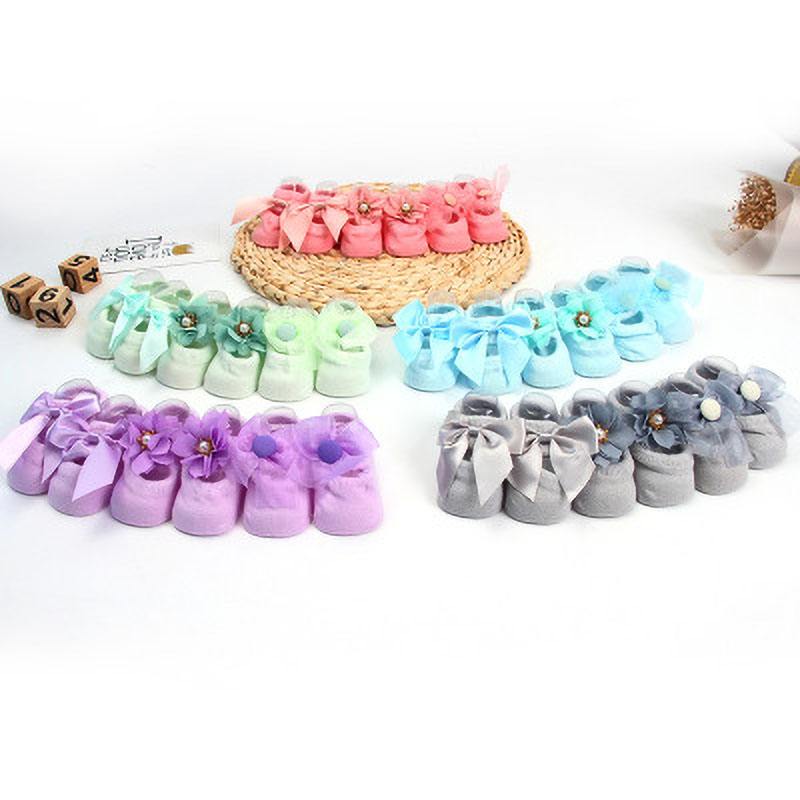 1 Pair Lace Bow Newborn Baby Girls Floor Socks Solid Color Children's  Cute Soles Silicone Non-slip Baby Shoes Socks For 0-3Y