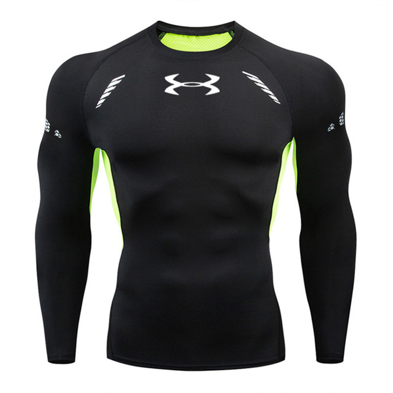 3D Quick Dry Rashgard Running Shirt Men Long Sleeve Compression Shirt Gym T Shirt Fitness Top Sport Shirt Men Soccer Jersey