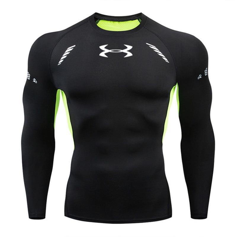 3D Quick Dry Rashgard Running Shirt Men Long Sleeve Compression Shirt Gym T Shirt Fitness Top Sport Shirt Men Soccer Jersey