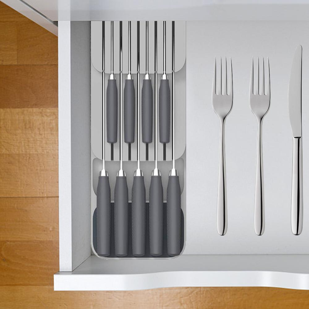 New Plastic Knife Holder Kitchen Drawer Organizer Tray Knife Stand Organizer 18 Slots Knives Utensil Racks Storage Cabinet Tools 1