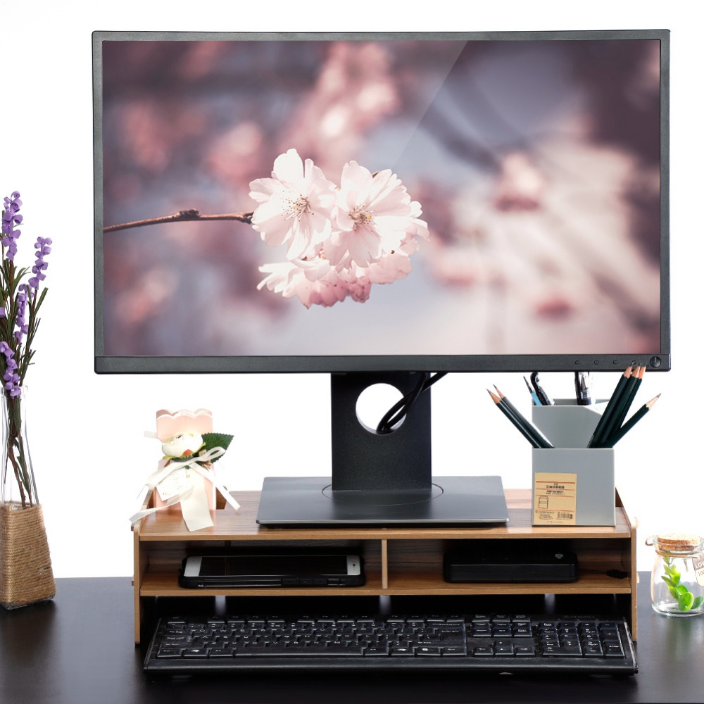 Wooden Computer Monitor Organizer Escritorio TV PC Stand Keyboard Holder Office Desk Organizer Home Desk Storage Box Case