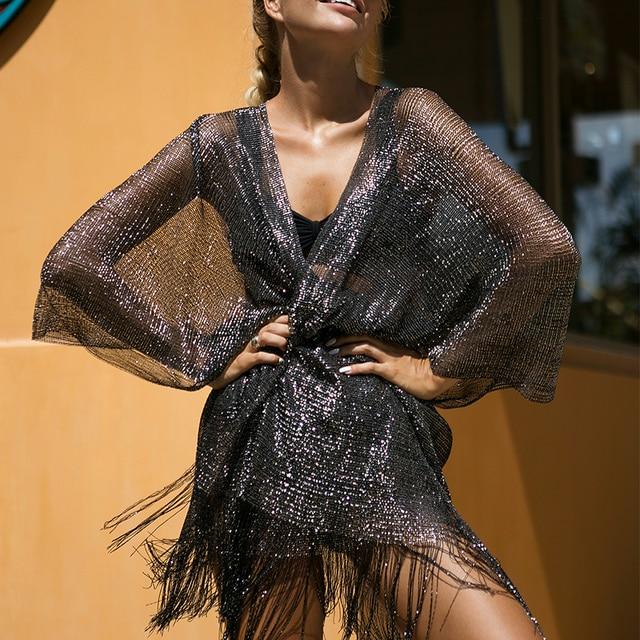 Tassel gold bikini  beach dress 3