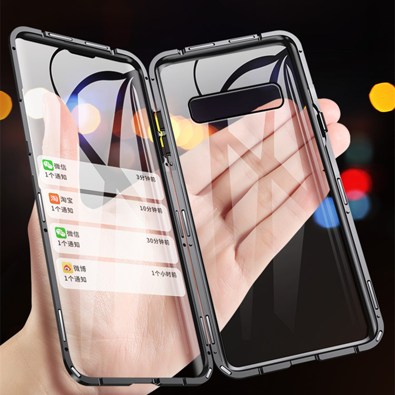 Magnético Metal Case Para Samsung Galaxy Note 10 Plus S10 S10E S9 S8 Nota Nota 8 9 Da Frente Para Trás 360 casos de Cobertura de Vidro Temperado completa
