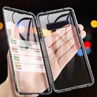 Magnetico Cassa Del Metallo Per Samsung Galaxy Note 10 Più S10 S10E S9 S8 Nota 9 Note 8 Fronte Retro 360 pieno di Vetro Temperato Custodie Copertura