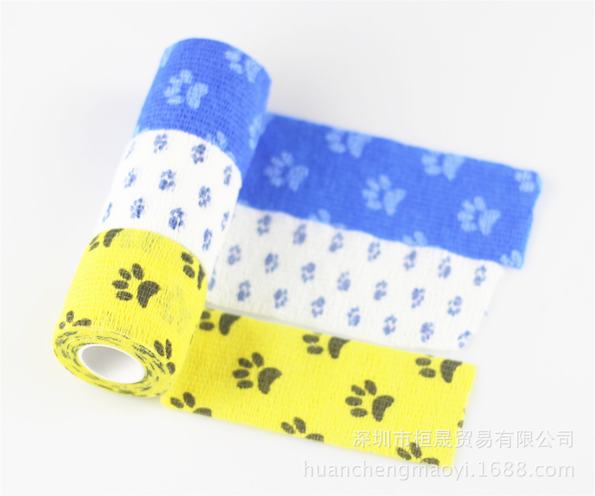 Outdoor Camouflage Tape Non-woven Self-adhesive Bandage Printed Paw Prints Adhesive Tape Sale