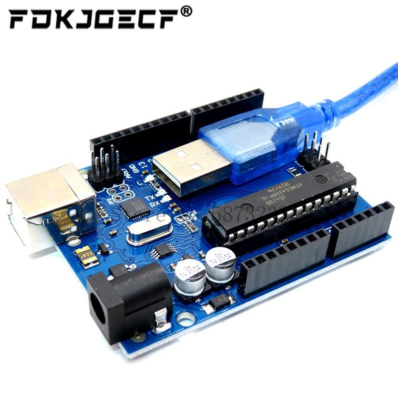 Чип UNO R3 ATMEGA16U2 + MEGA328P для Arduino UNO R3, макетная плата и USB-кабель