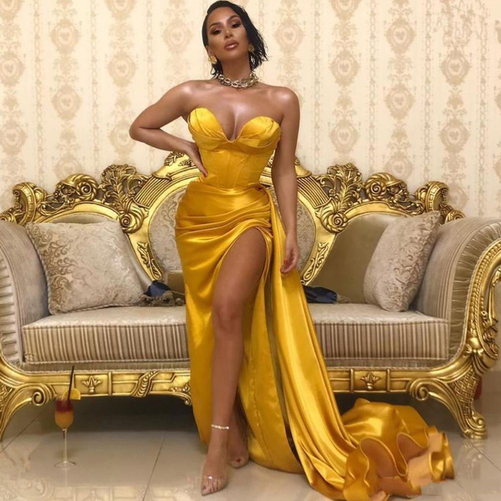 2021 Gold Sweetheart Prom Dresses Satin Long Evening Gown Sexy High Split Dubai Party Dress Formal Gowns Abendkleider 4