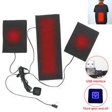 Углерод волокно нагрев лист трехуровневый регулируемый температура 5 В электрический USB зарядка моющийся и складывание