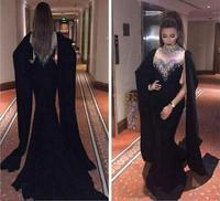 Dubai Kaftan Long Sleeves Mermaid Black Evening Dress 2019 Beaded Crystal High Neck Abaya Kaftan Long Arabic Prom Dresses