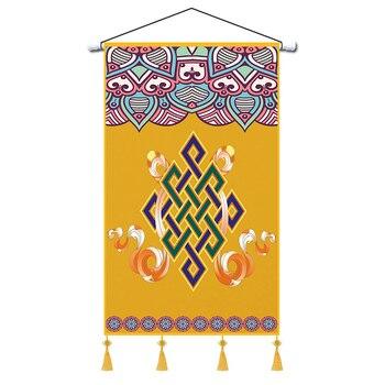 Arte pintura tapiz Vintage amarillo Floral Macrame Mural tapiz personalizado Dormitorio Alfombra...