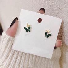 Корейское Новое модное с зеленым кристаллом металлические двойные