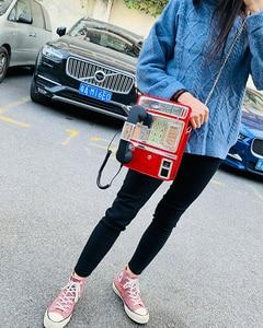 Image 4 - Black & Red Patent Leder Telefon Stil Frauen Mode Kette Geldbörsen und Handtaschen Schulter Tasche Umhängetasche Messenger Bag 2020 Geldbörsen