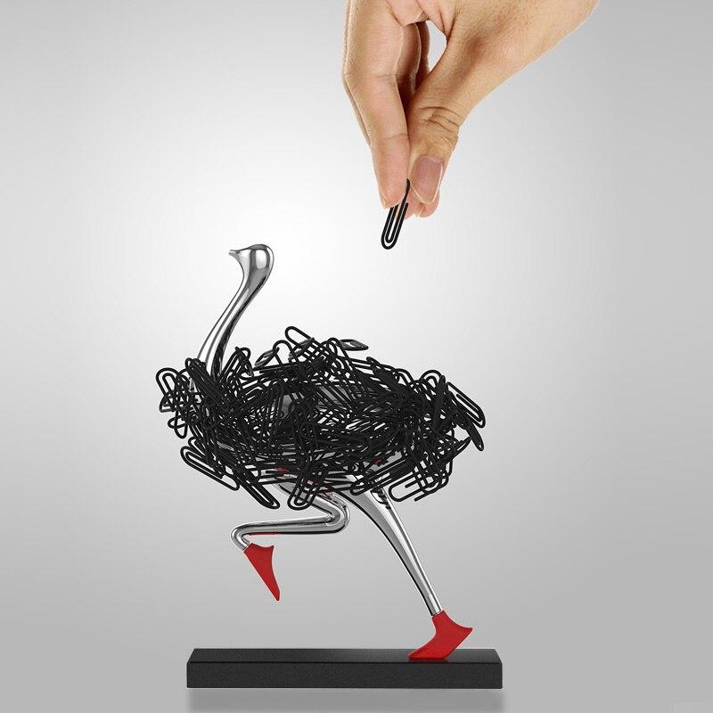 Купить страусиный магнитный держатель для бумаги украшение офисный