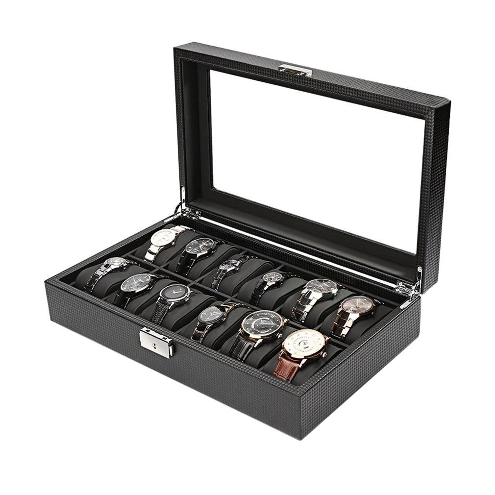 2/6/10/12 vigas de cuero/fibra de carbono caja de reloj de lujo caja de almacenamiento de joyería organizador para anillos de reloj pulsera caja de soporte de exhibición