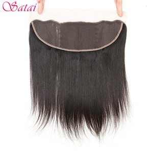 Image 3 - Satai Straight Hair 3 Bundles With Frontal 100% Brazilian Human Hair Bundles With Closure Natural Color Non Remy Hair Extension