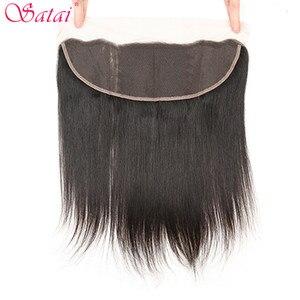 Image 3 - Satai extensão do cabelo em linha reta feixes de cabelo com fechamento 100% não remy feixes de cabelo humano com fecho cabelo peruano pacotes
