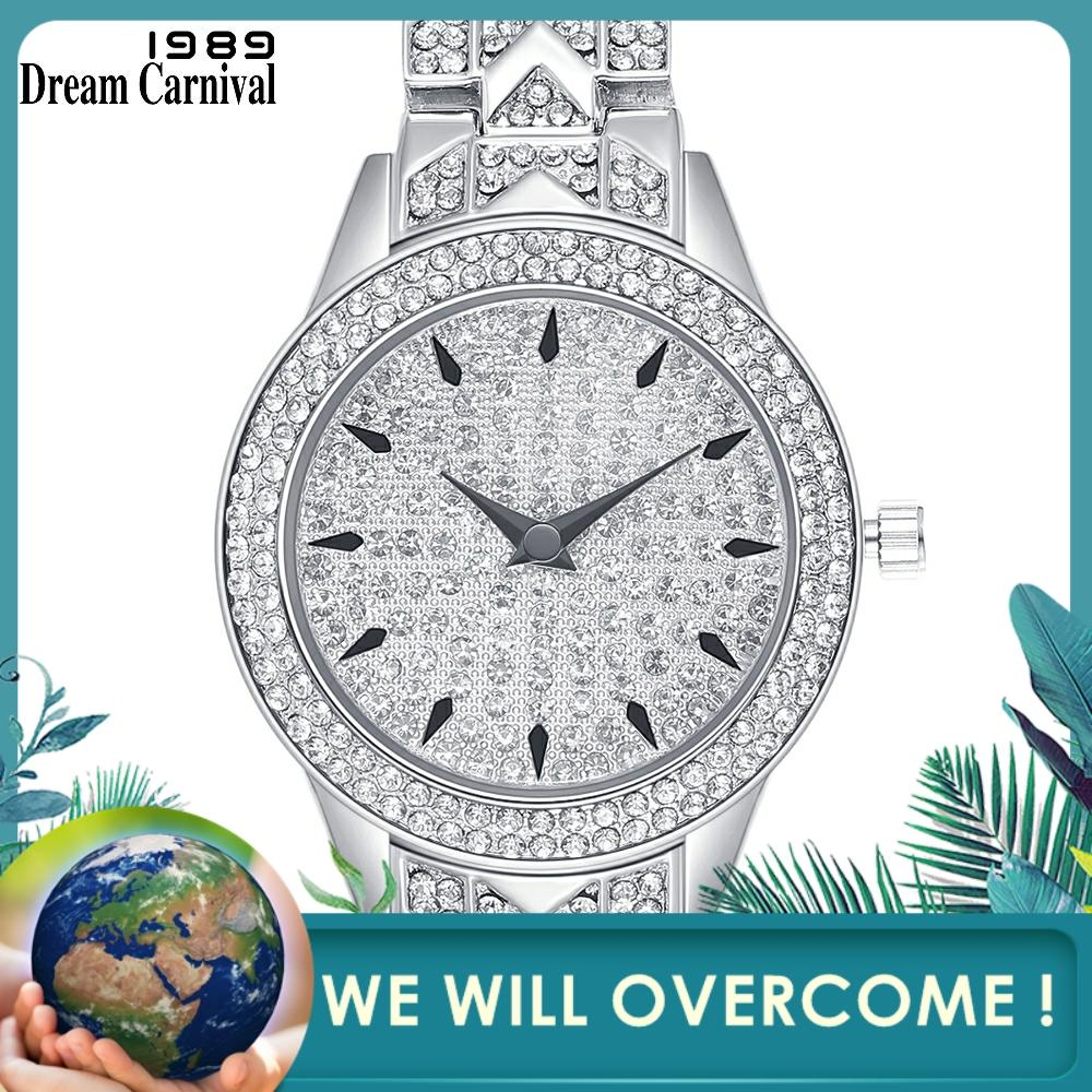 Dreamcarnival 1989 Office Ladies Must Have Round Clock Classic Crystal Watch Women Luxury Stones Dial Factory Wholesale A8346