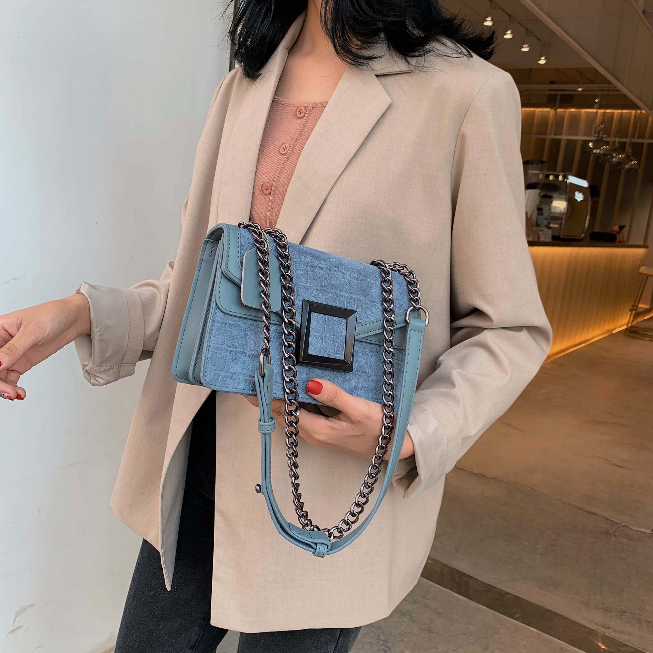 Scrub Leather Stone Pattern Small Flap Bag Crossbody Bag For Women Chic Chain Flap Buckle Shoulder Messenger Bags Lady  Handbags