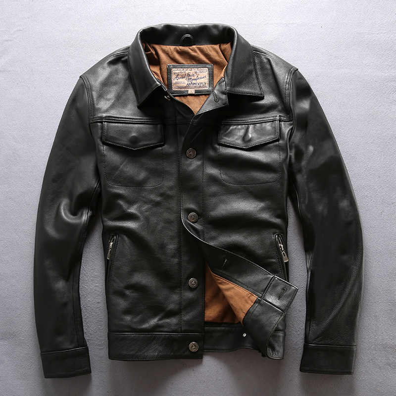 AVIREXFLY men genuine cow skin leather jacket mens cowhide casual vintage biker leather jacket Casual Single-breasted jackets