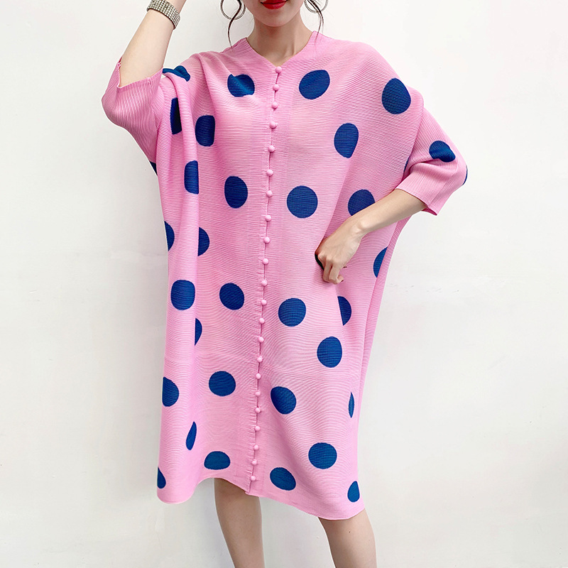 Women Jacket Pleated Polka Dot Coat Summer 2020 New Cardigan Style Plus Size Coat