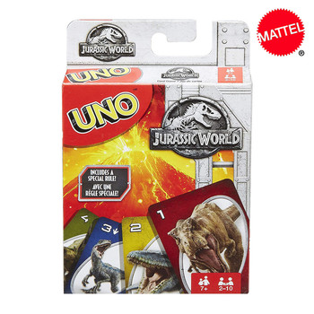 Mattel Games UNO Jurassic World Card Game Family Funny Entertainment Game Fun Poker Kids Toys Playing Cards shark bite game funny toys desktop fishing toys kids family interactive toys board game