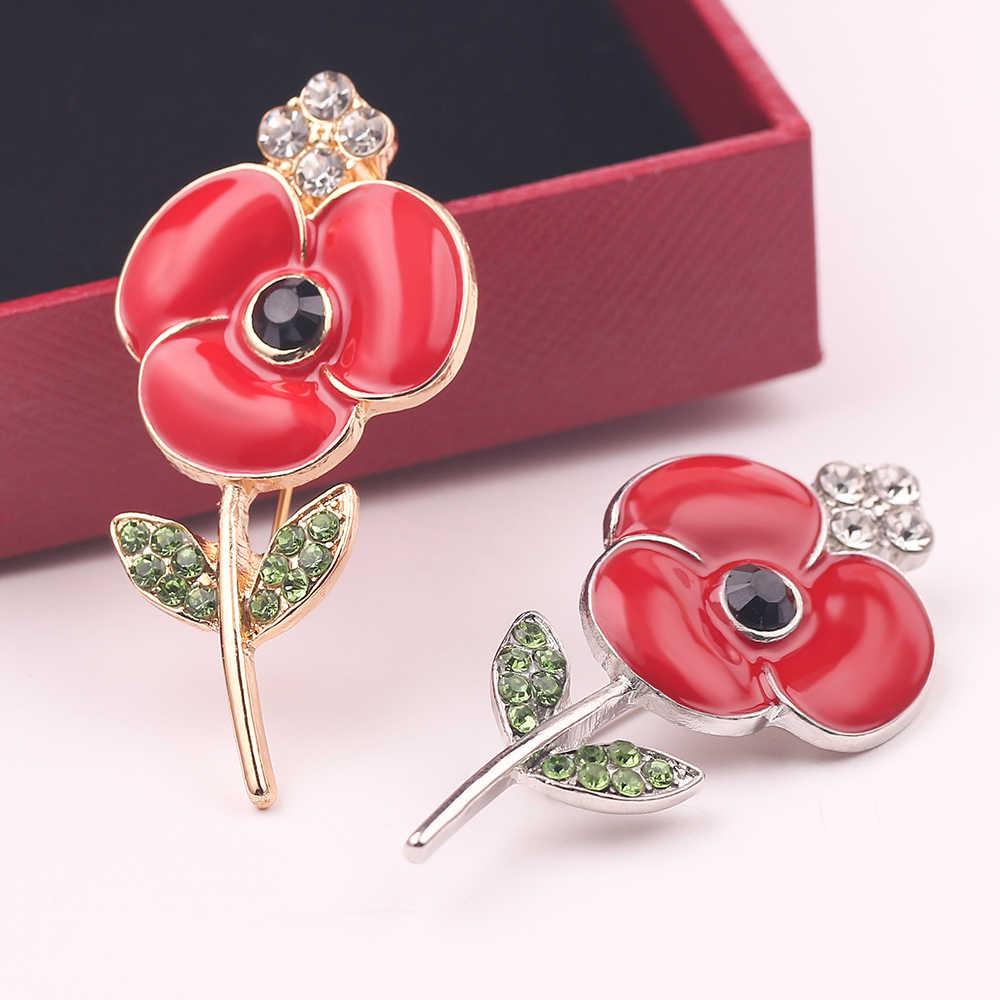 Merah Bunga Berlian Imitasi Enamel Rose Kristal Logam Bros Fashion Perhiasan Aksesoris Hadiah untuk Pria Wanita