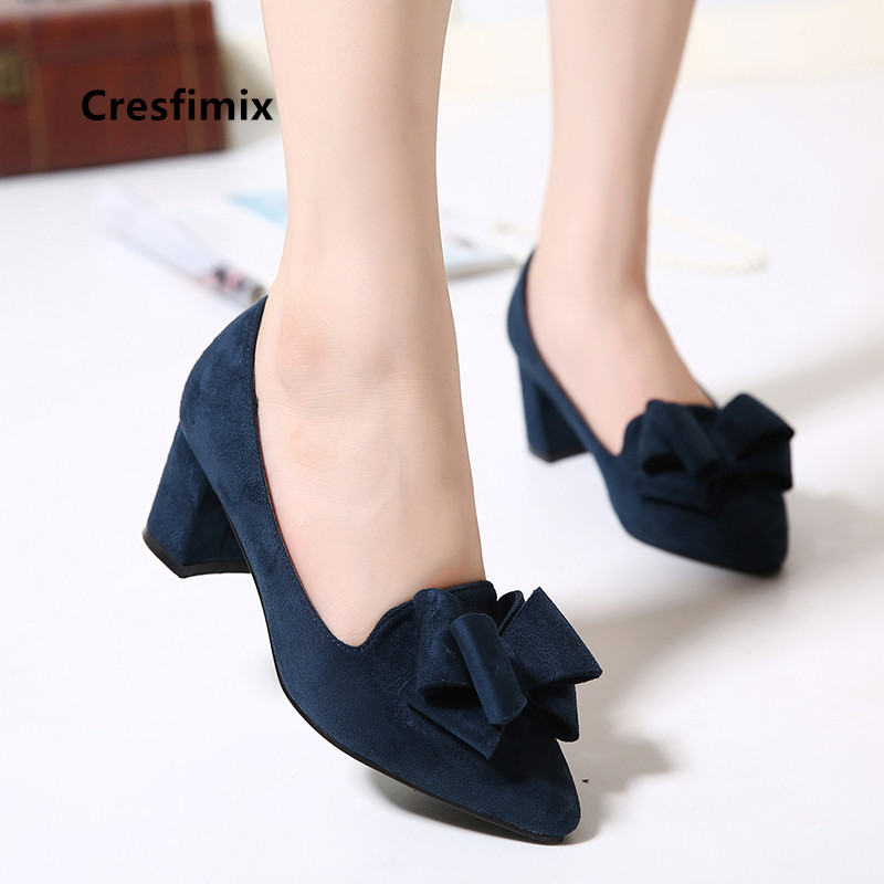 Marlisasa Women Fashion High Quality Bow Tie Navy Blue High Heel Pumps For Office Classic Shoes Mulheres Saltos Altos H2956