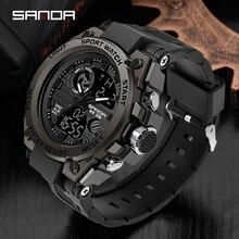 Часы наручные SANDA мужские в стиле милитари, Роскошные водонепроницаемые спортивные, с двойным дисплеем