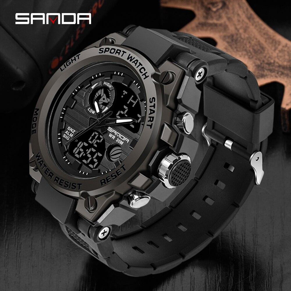 SANDA Top Luxus Uhren Männer Militär Armee Herren Uhr Wasserdicht Sport Armbanduhr Dual Display Uhr Männlich Relogio Masculino