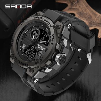 SANDA Top zegarki luksusowe mężczyźni wojskowy armia mężczyzna zegarek wodoodporny sportowy zegarek zegarek z podwójnym wyświetlaczem mężczyzna relogio masculino tanie i dobre opinie 24cm Podwójny Wyświetlacz QUARTZ 3Bar Klamra Stop 17mm Żywica Kwarcowe Zegarki Na Rękę Nie pakiet RUBBER 55mm 23mm