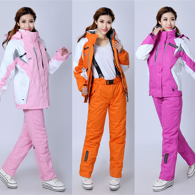 2020 Women Thicken Warm Windproof Winter Skiing Snowboard Set Ski Jacket +Pant Suits Female Ski Wear Waterproof Snow Skiing Suit