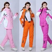 2020 Women Thicken Warm Windproof Winter Skiing Snowboard Set Ski Jacket +Pant Suits Female Ski Wear Waterproof Snow Skiing Suit